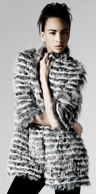 STYLE # T122194FX   rabbit & fox layered coat