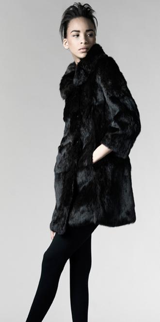 STYLE # T122243R   long hair rabbit d/b coat