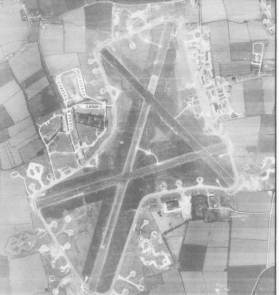 Airfield at Tibenham, RAF photo taken in April 1946 Note the peripheral frying-pan shaped hardstands for the B-24s Bomb and ammo dumps on the left; control tower and technical site on the right.