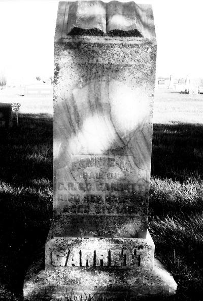 Cemetery Marker, Moon Cemetery, Macksburg, Madison Co., Iowa Mary Francis (Fannie) Garrett