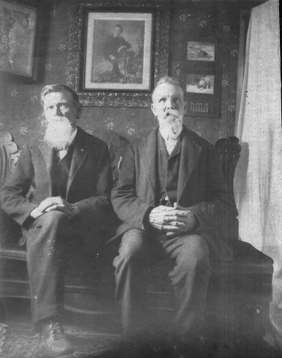 Ca. 1902, assume Garrett family home in Macksburg, Iowa L-R:  Charles Robert Garrett and his brother Joseph Garrett