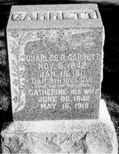 Cemetery Marker, Moon Cemetery, Macksburg, Madison Co., Iowa Charles R. and Catherine McGuire Garrett Of note is that this marker is a large granite stone and not limestone.