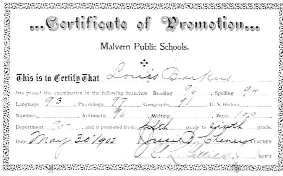 Louis Barkus' certificate of promotion to the 6th grade Malvern public schools, dated May 30, 1902
