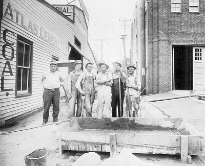 Mixing Cement, undated photo Louis A Barkus at far left.