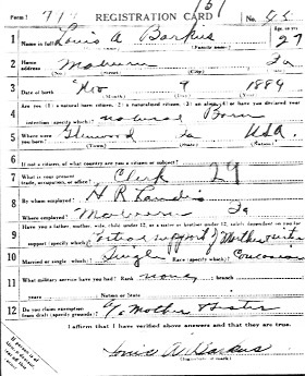 Photocopy of Lous Barkus' W.W. I. Draft Registration