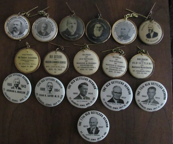 Old Settlers Buttons Harley Garrett is second from right on bottom row