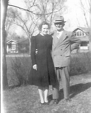 William Kreie with daughter Marian Kreie Garrett in Lorimor, Union Co., Iowa Probably about 1950