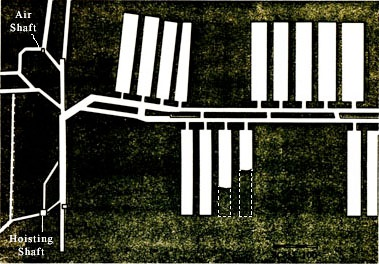 Fig. 2. Top view (plan) of a room and pillarmine.* * Used by permission: Schwieder, Dorothy, Kraemer, Richard, Iowa's Coal Mining Heritage, The State of Iowa, 1973.