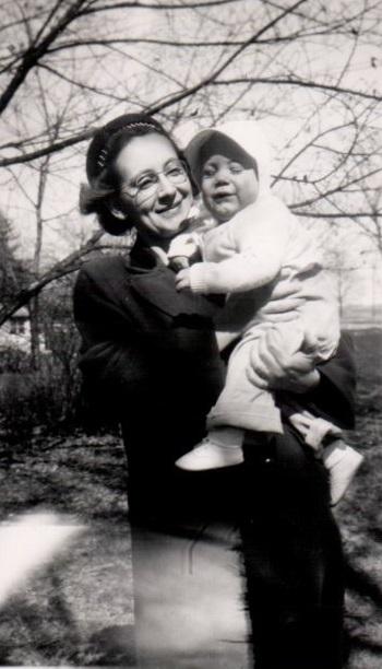 Craig Garrett, earliest known photo, With mother Marian Garrett, 1947, Lorimor, Iowa