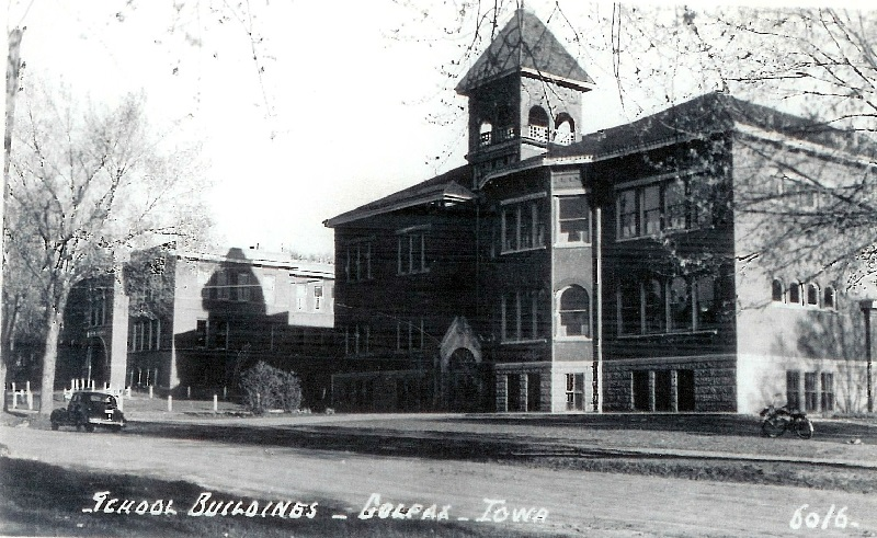 The building on the right was built in 1896 and served as an elementary school while I lived in Colfax. Picture was taken before metal fire escape tubes were attached to the upper floors. The school was torn down in 1968. The building on the left was the old high school that was abandoned as structurally unsound in 1960.