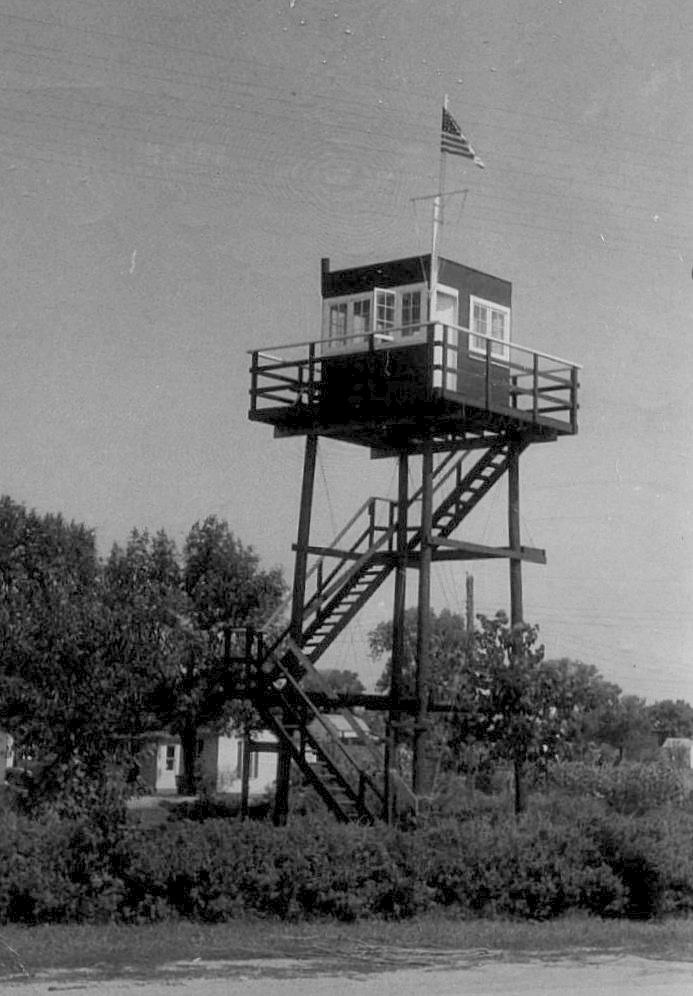 Sample of a ground observer tower located at Odebolt, Iowa The tower at Colfax, Iowa was very similar in design.