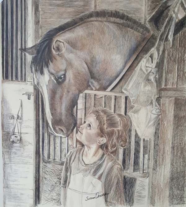 """How it Begins"" Colored pencils on Stongehenge 16x20 matted, framed.   $275   Available  Dunn Horse and owner's granddaughter experiencing love at first sight."