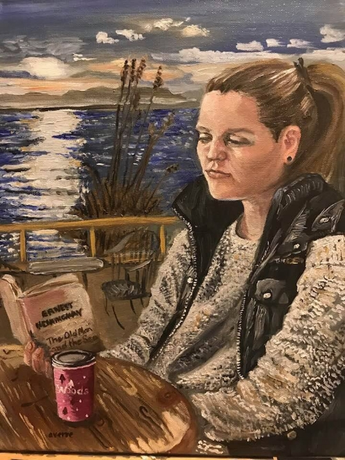 Young Woman By The Sea Reading The Old Man And The Sea.  Oils on canvas. 11x14. Available $225