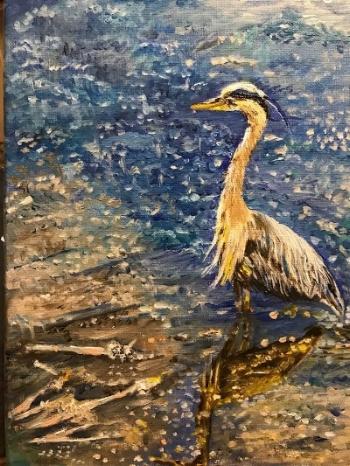 Padden Creek heron 9x12 oils $175