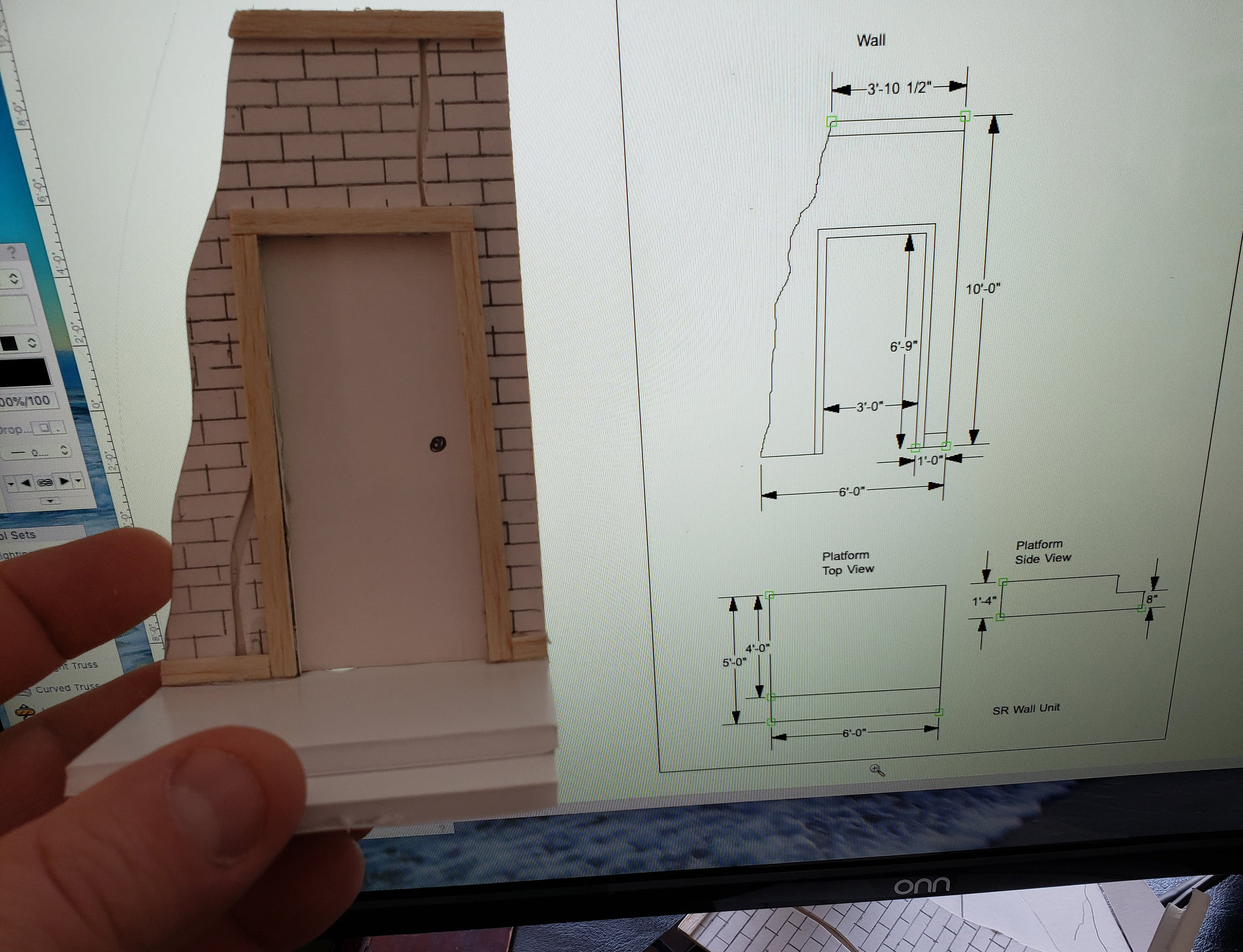 Model piece and digital construction drawing of wall for  Portrait of a Madonna .
