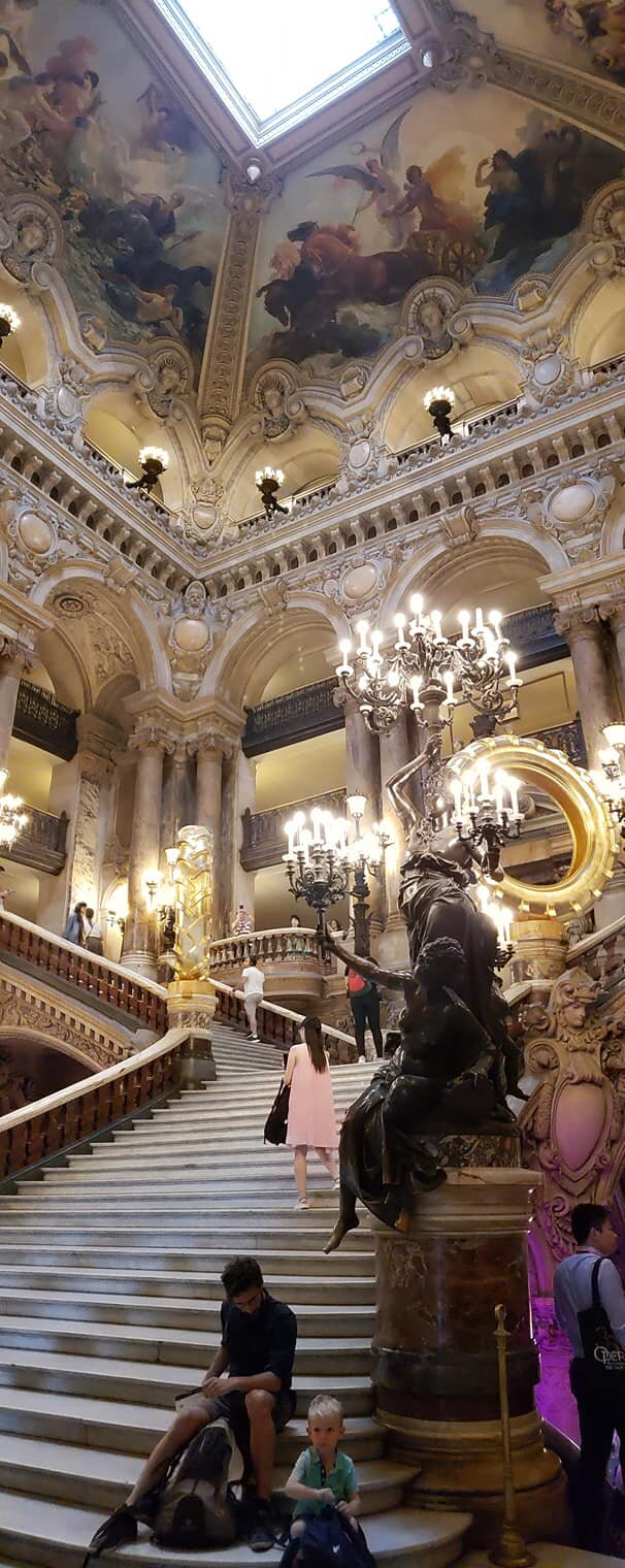 The Grand Staircase, where the wealthy operagoers can show off their own fancy finery to everyone else in attendance.