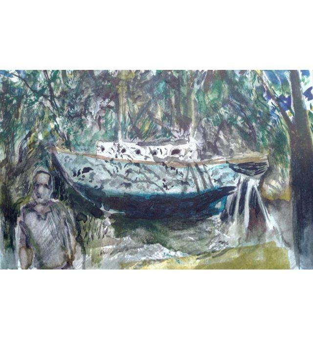 Under the trees boat set sundowned