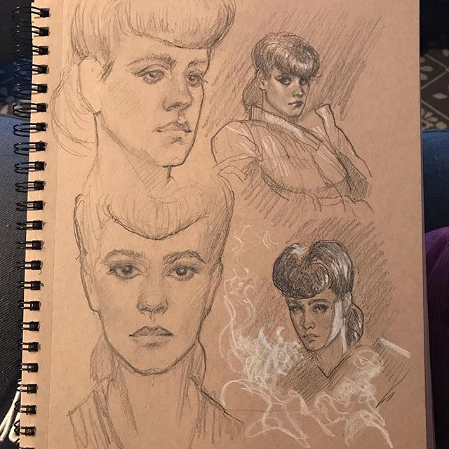 A page of Rachaels. Some more accurate than others. #art #artist #instaart #sketch #sketchbook #bladerunner #replicant #seanyoung #drawing #traditionalart #pencilsketch