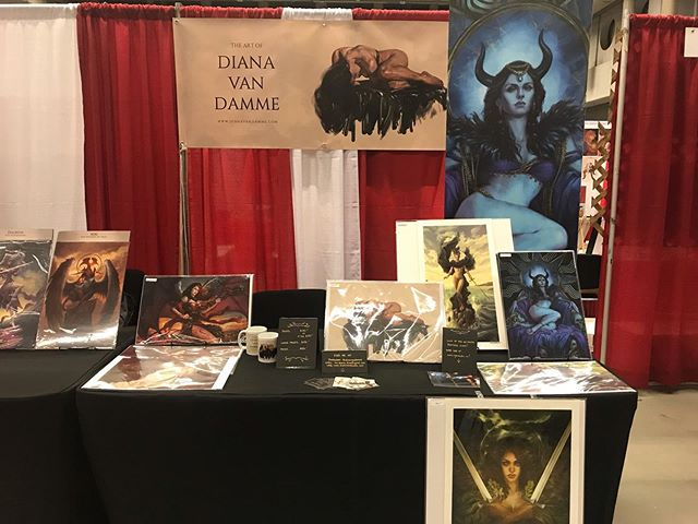 Almost all set up for @mtlcomiccon! I'm at booth # 2106! Some old classics and new stuff available 😘 #art #artist #illustration #fantasyart #comiccon #montreal #montrealcomiccon #mtlcomiccon