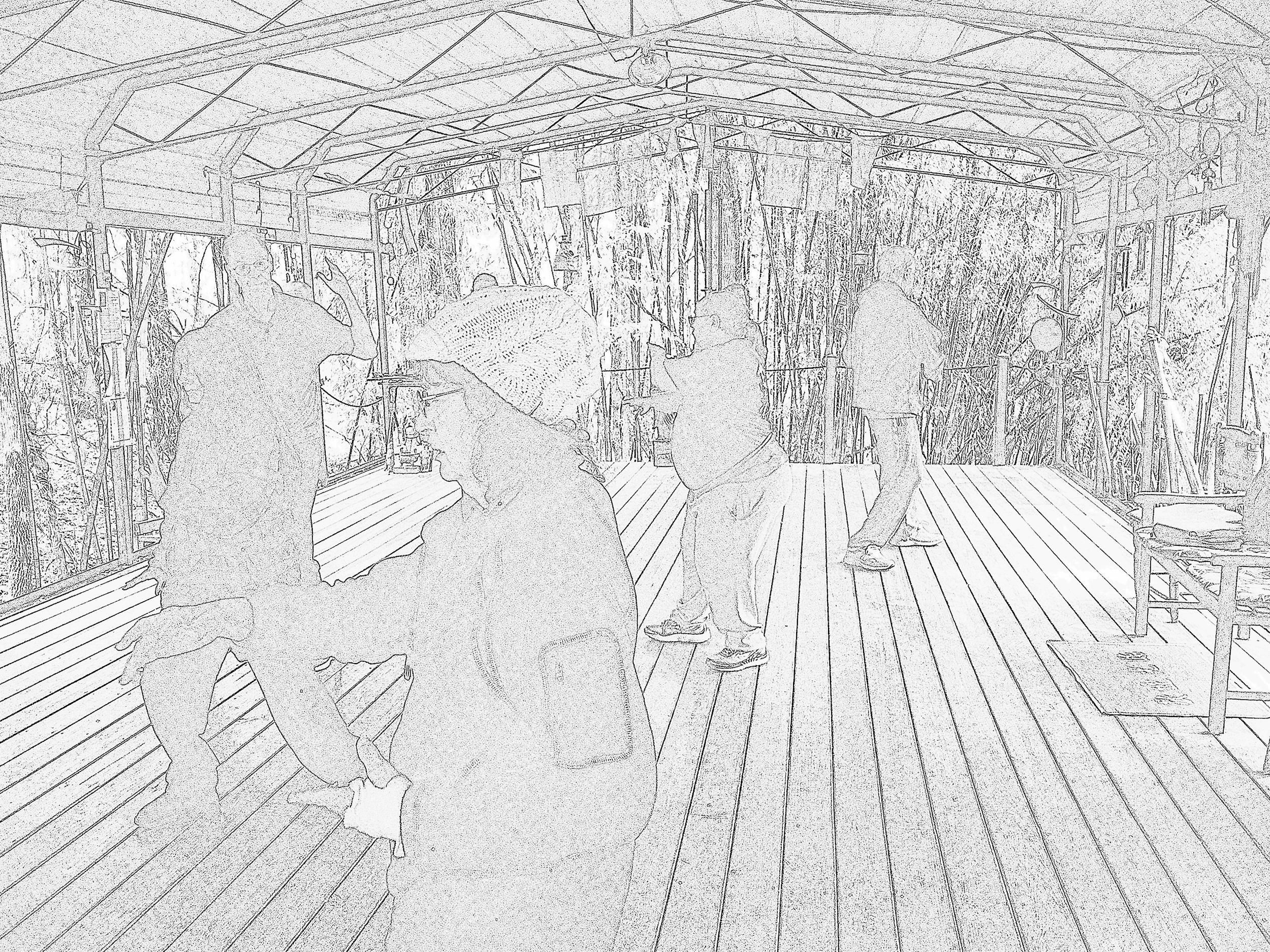 Taiji on the pavilion