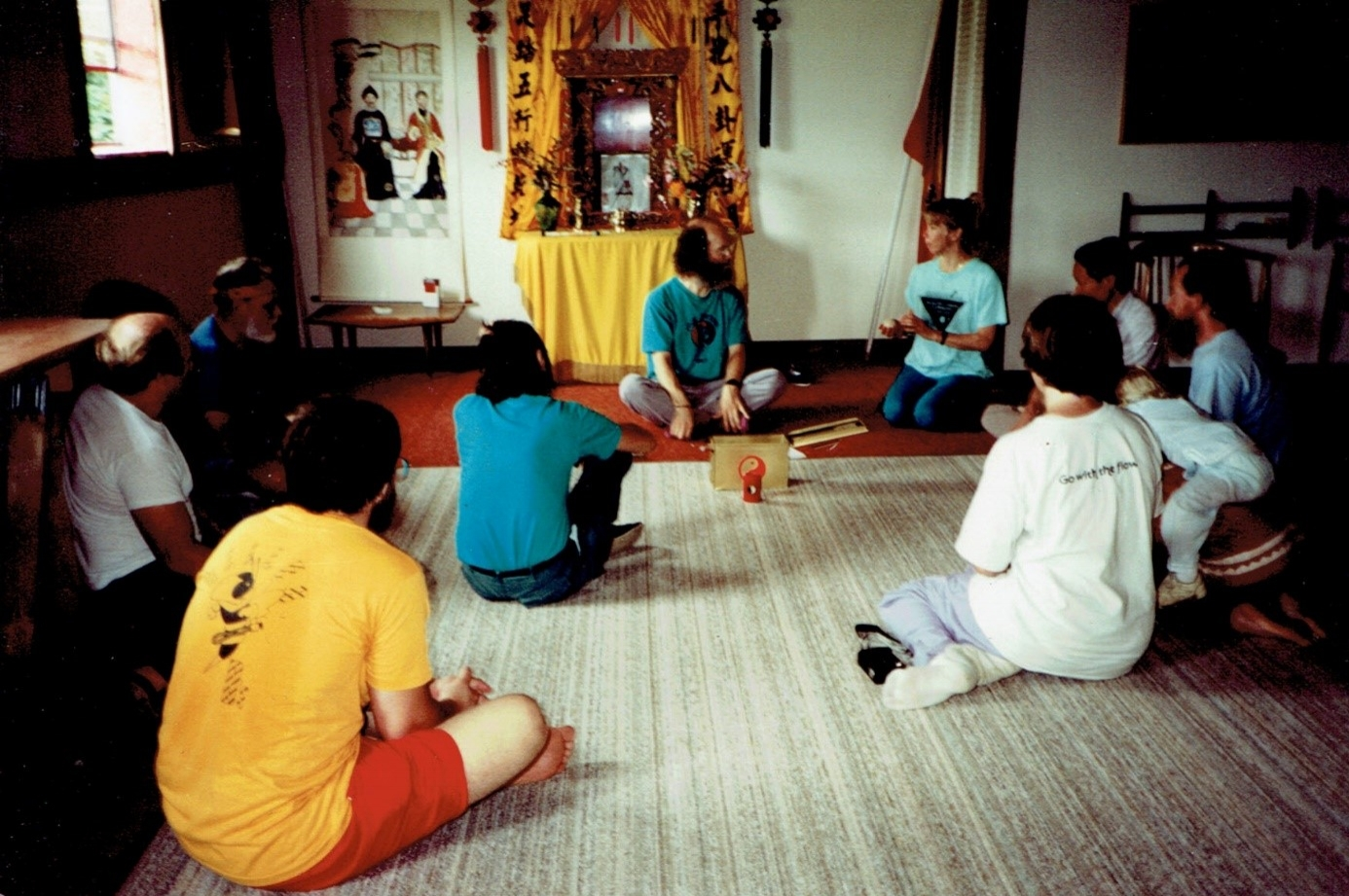 MrJou's Ancentor Altar in Tai Chi Farm's Zhang Hall; DrJay lecturing