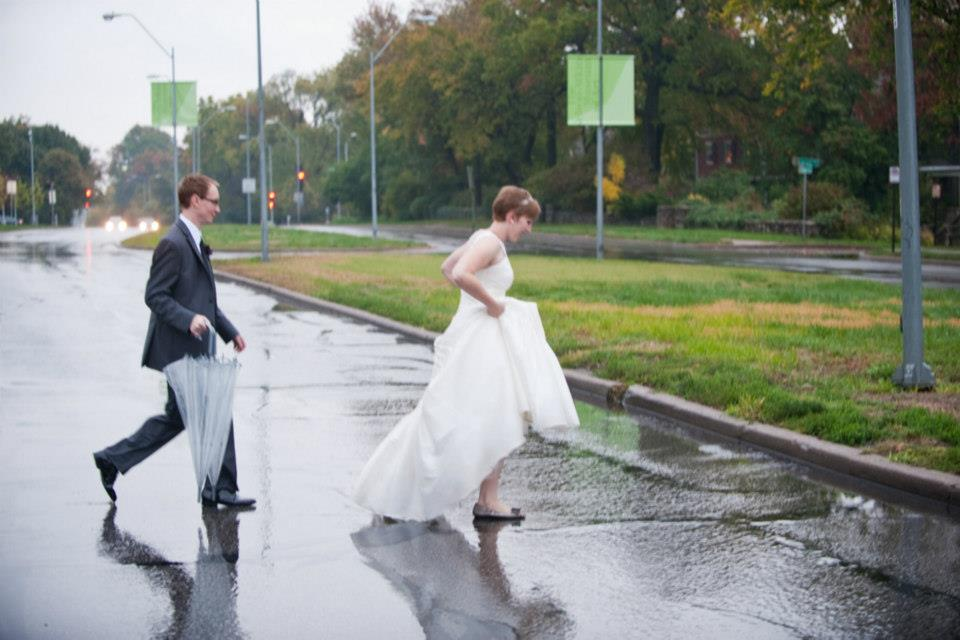 It poured on our wedding day.