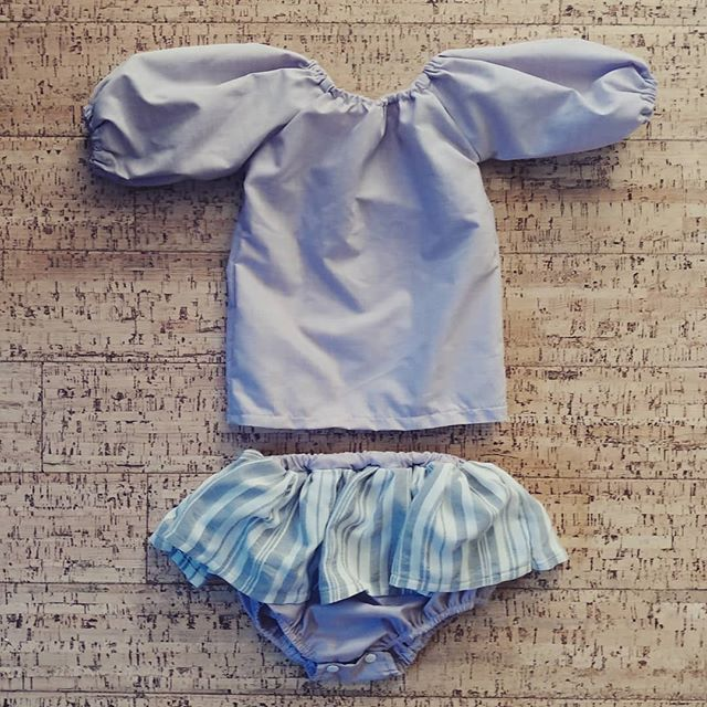 New outfit in size 3-6 months. Can't wait to try it on tomorrow morning.  Pattern: @hellodearkids  Fabric: shirting from @pacificfabrics  #hellodearkids #romper #sewingproject #sewingforkids