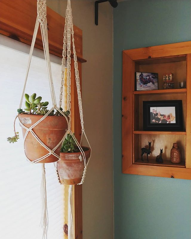 I just hung these here temporarily, but maybe this is where they'll stay 🤔  #macrame #macrameplanthanger #handmadelife