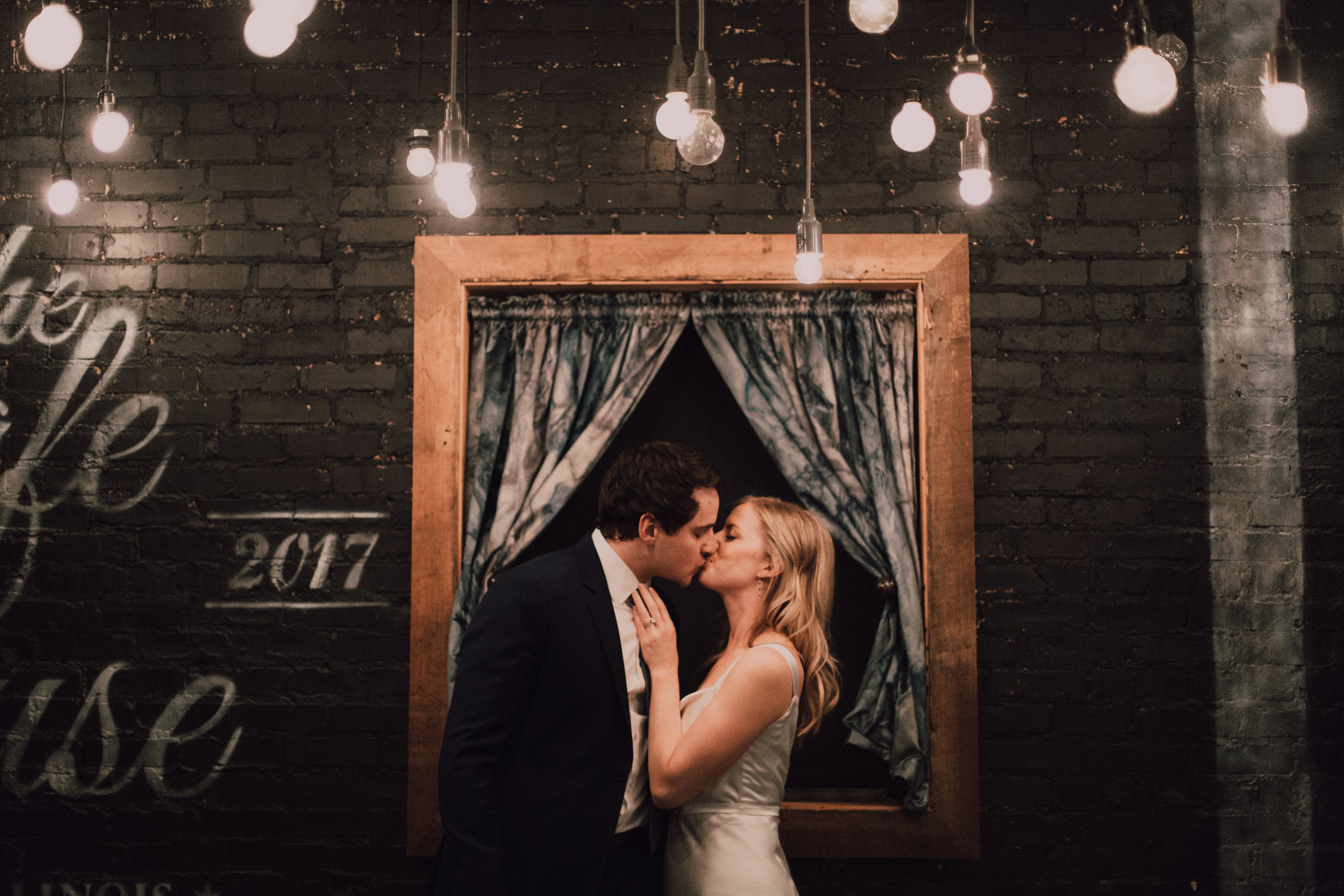 Whimsical Chicago Loft Wedding - Venue: The JoineryHair/Makeup: Kayla Consolo at Deco AdamoFlowers: Vale of EnnaDress: Julia Needleman Custom CoutureLighting: Atmosphere Events GroupDJ: Toast and JamCatering: Cocina Fusion