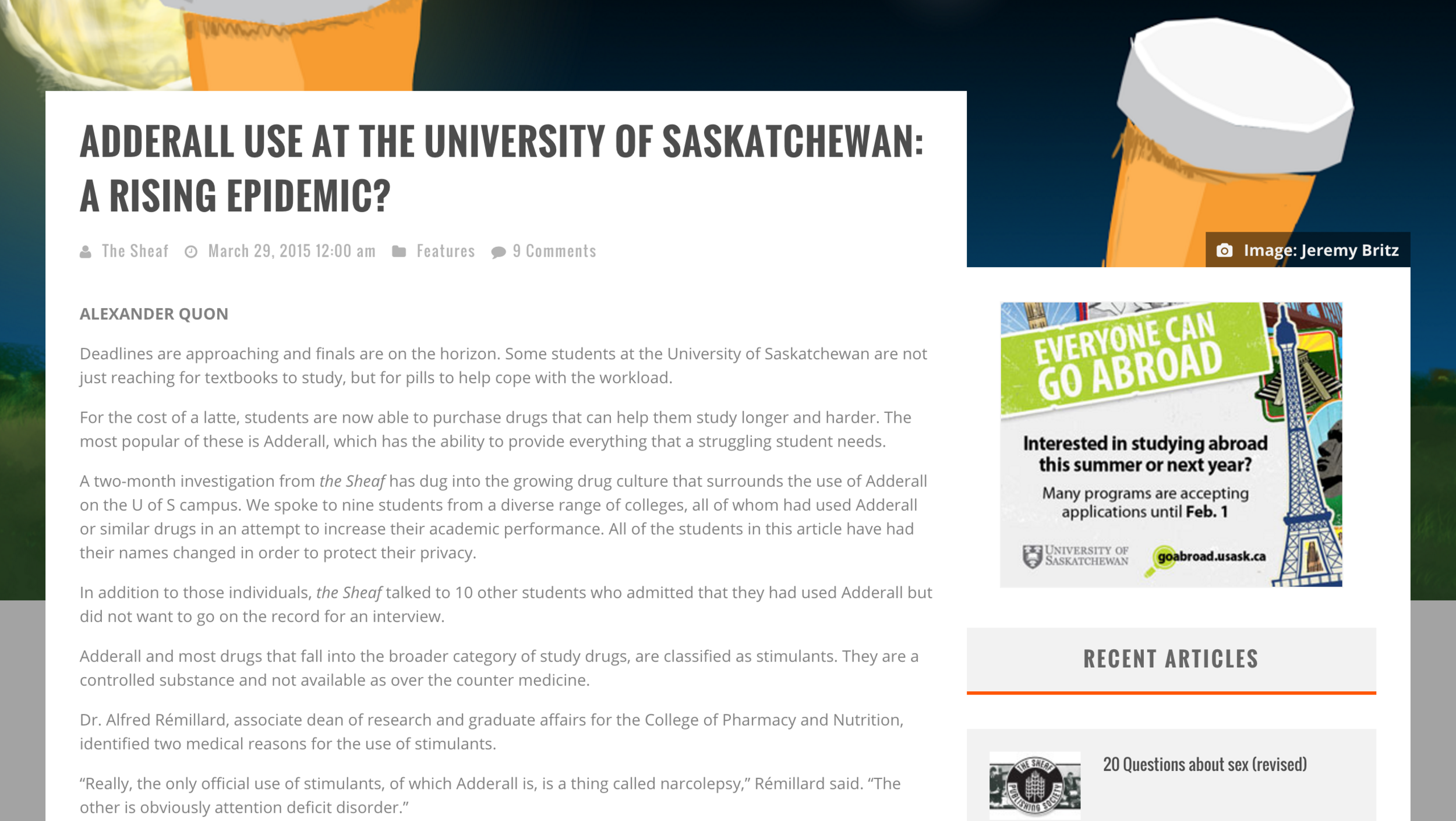 Adderall use at the University of Saskatchewan: A rising epidemic?
