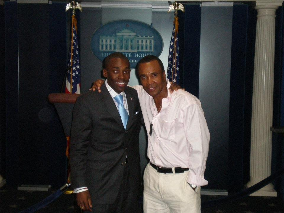 White House Press Briefing Room w Sugar Ray Leonard