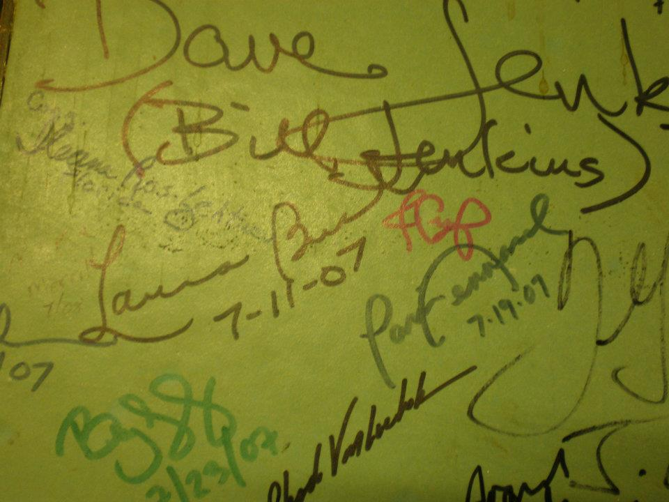 Signature on the original White House swimming pool under the Press Briefing Room