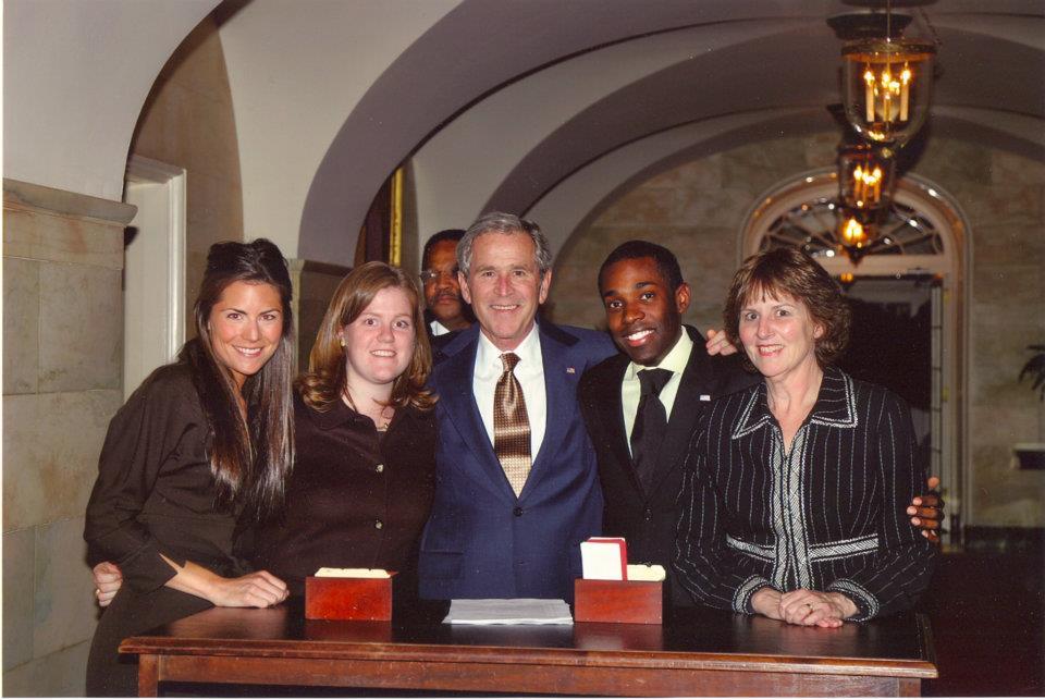 Candid w/ President Bush and staff