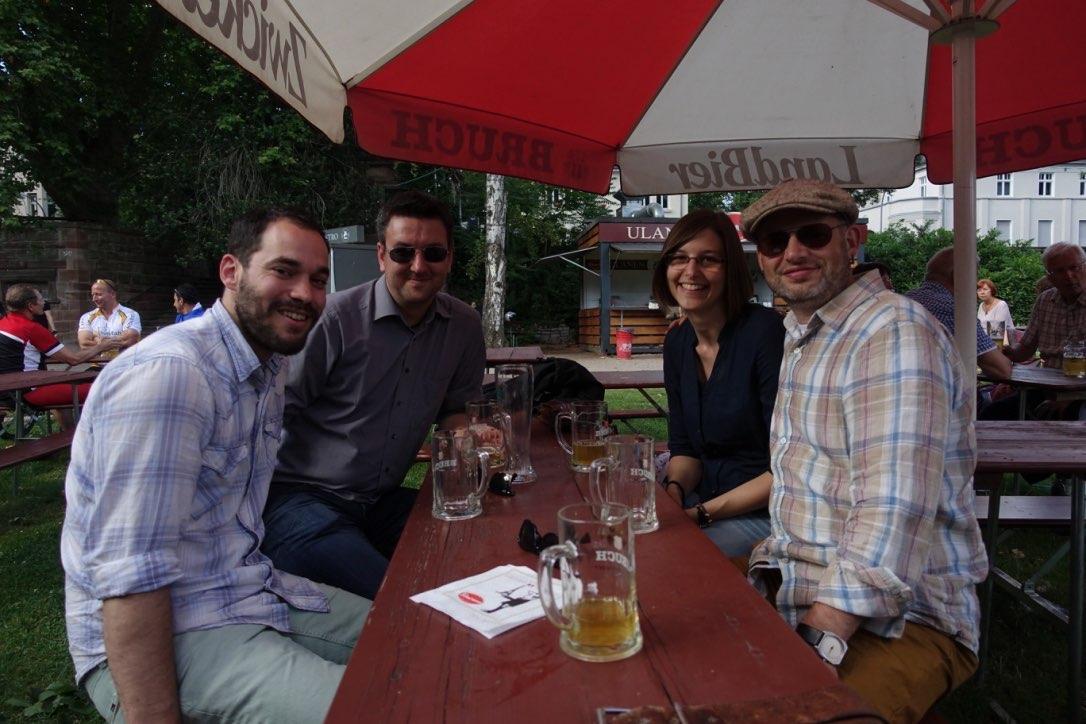 Group reunion in Saarbrucken (Josh, Olli, Sabrina & Kari)