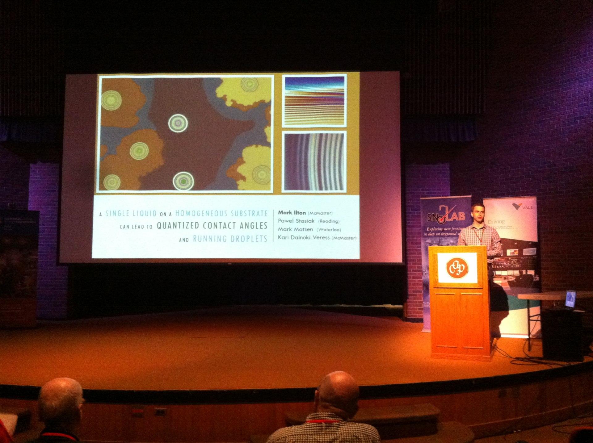 Mark Ilton giving his prize winning talk at the CAP congress in Sudburry