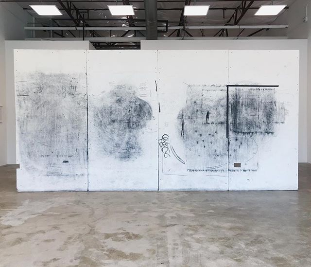 these four walls hold three years of process, exploration, meditation, internal thought, emotion, frustration, acceptance, and resolution. and i couldn't think of a better way to say thank you to them.  my studio walls  tpins, charcoal, tape, text 2017-2019