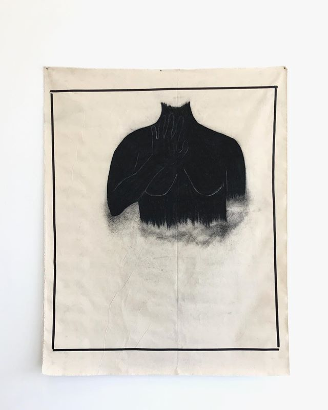 nah.  charcoal + tape on cloth  5 ft x 4 ft 2019  been thinking about boundaries / barriers of protection and self preservation alot lately. how i show it, how it can at times be a source of discomfort, and how i often internalize it. more work and ideas are beginning to come from this, and it's both healing + exciting.