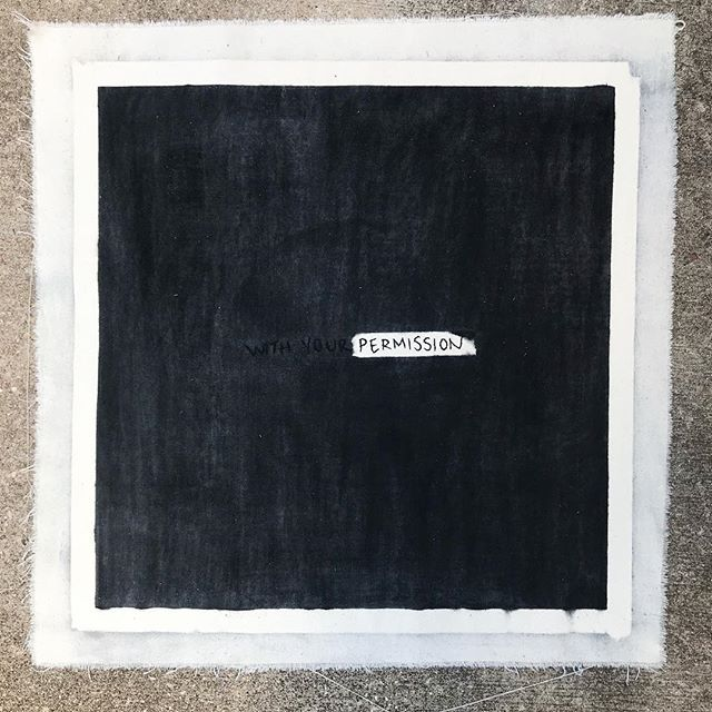 """an official document giving authorization""  embroidery and charcoal on cloth  24 in x 24 in  2019"