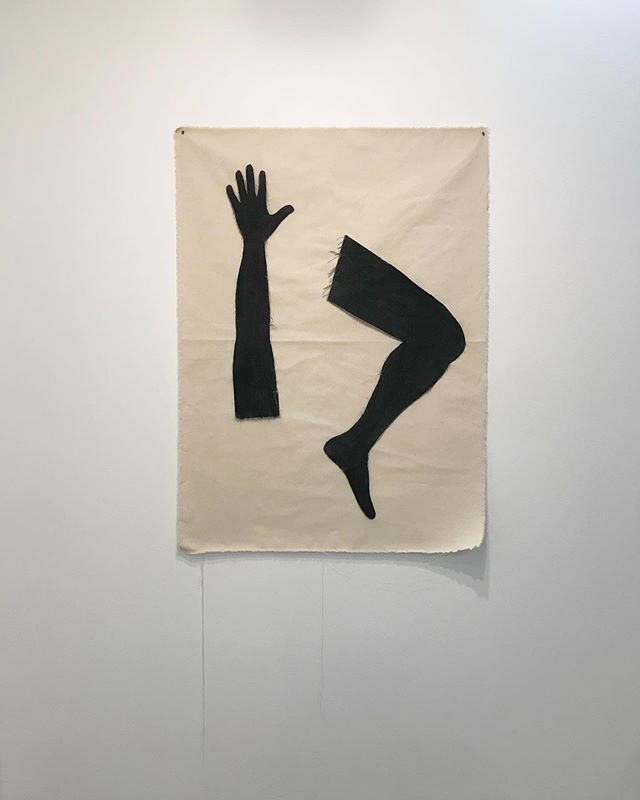 """a small sacrifice""  46 in x 33.5 in  cut cloth, charcoal 2019"