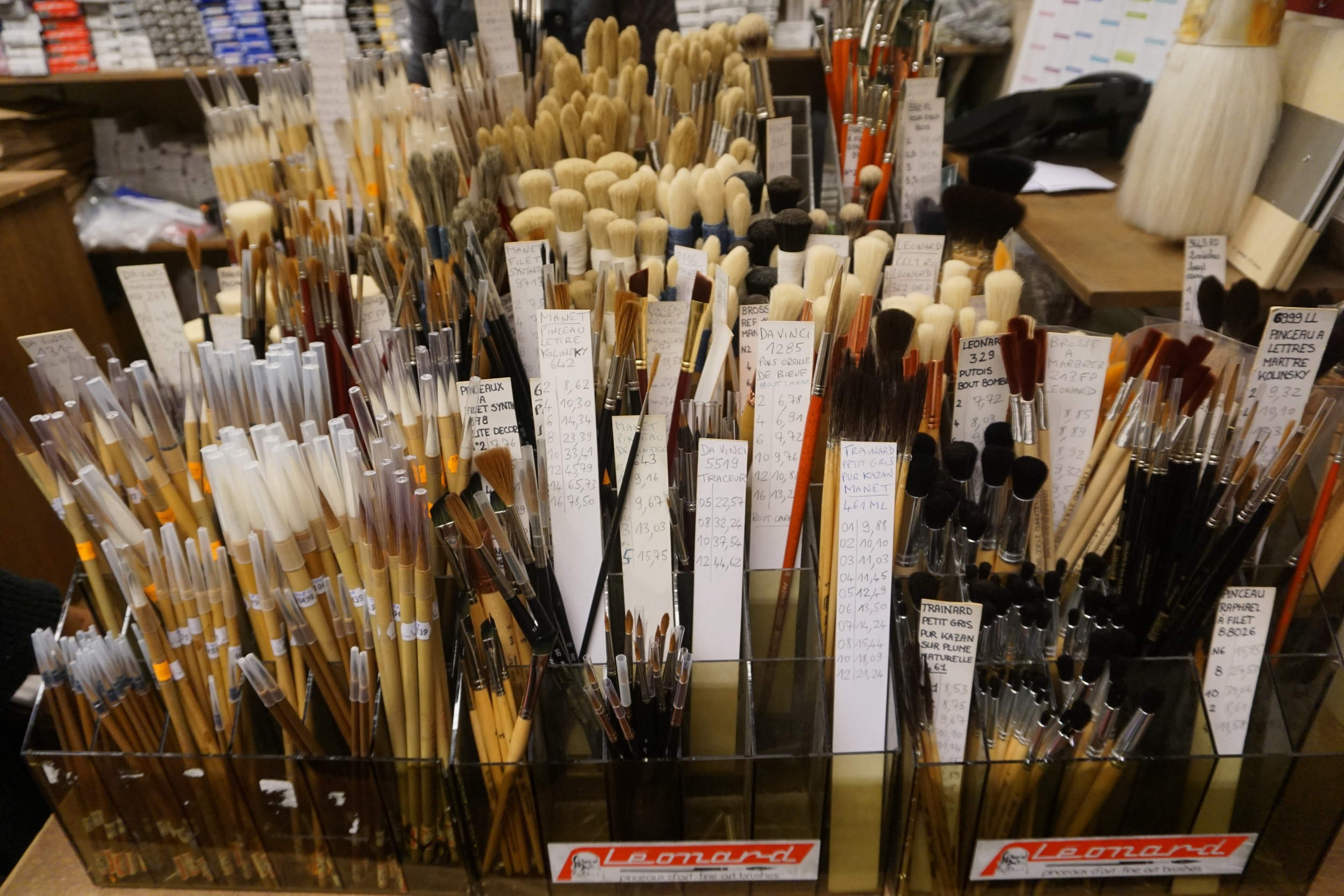 Brushes on third floor of Magasin Sennelier