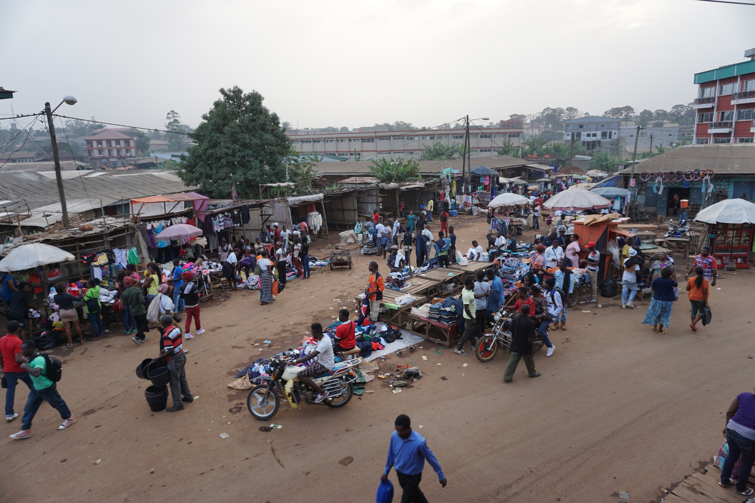 A local marketplace in Bamenda, Cameroon, where shop owners sell excess second-hand clothing received from relief agencies (2016).