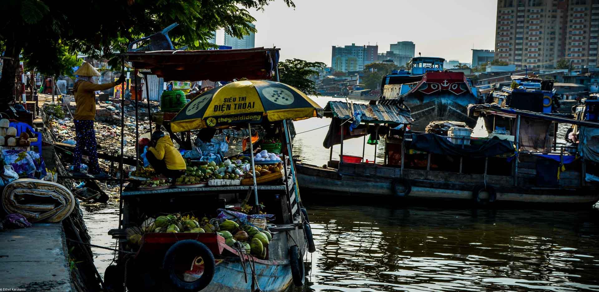 Women talking on the boat, Saigon