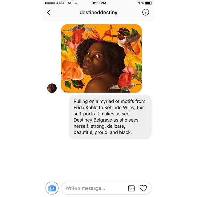 iPhone Art Review No. 4: @destineddestiny #iphoneartreview #selfportrait #blackgirlmagic #fridakahlo #kehindewiley