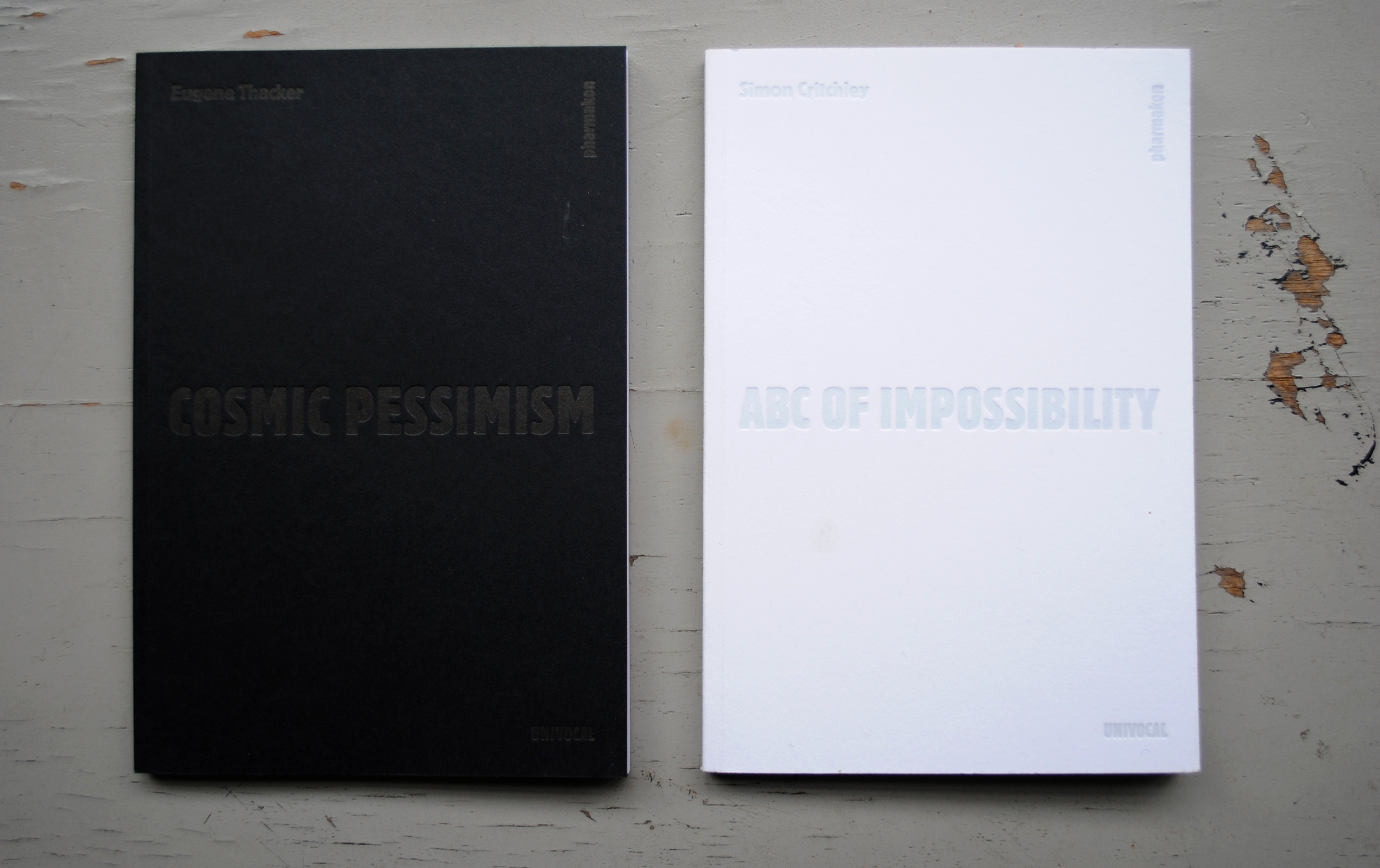 Cosmic Pessimism by  Eugene Thacker  and ABC of Impossibility by  Simon Critchley.  Eugene and Simon are professors at The New School in NYC.