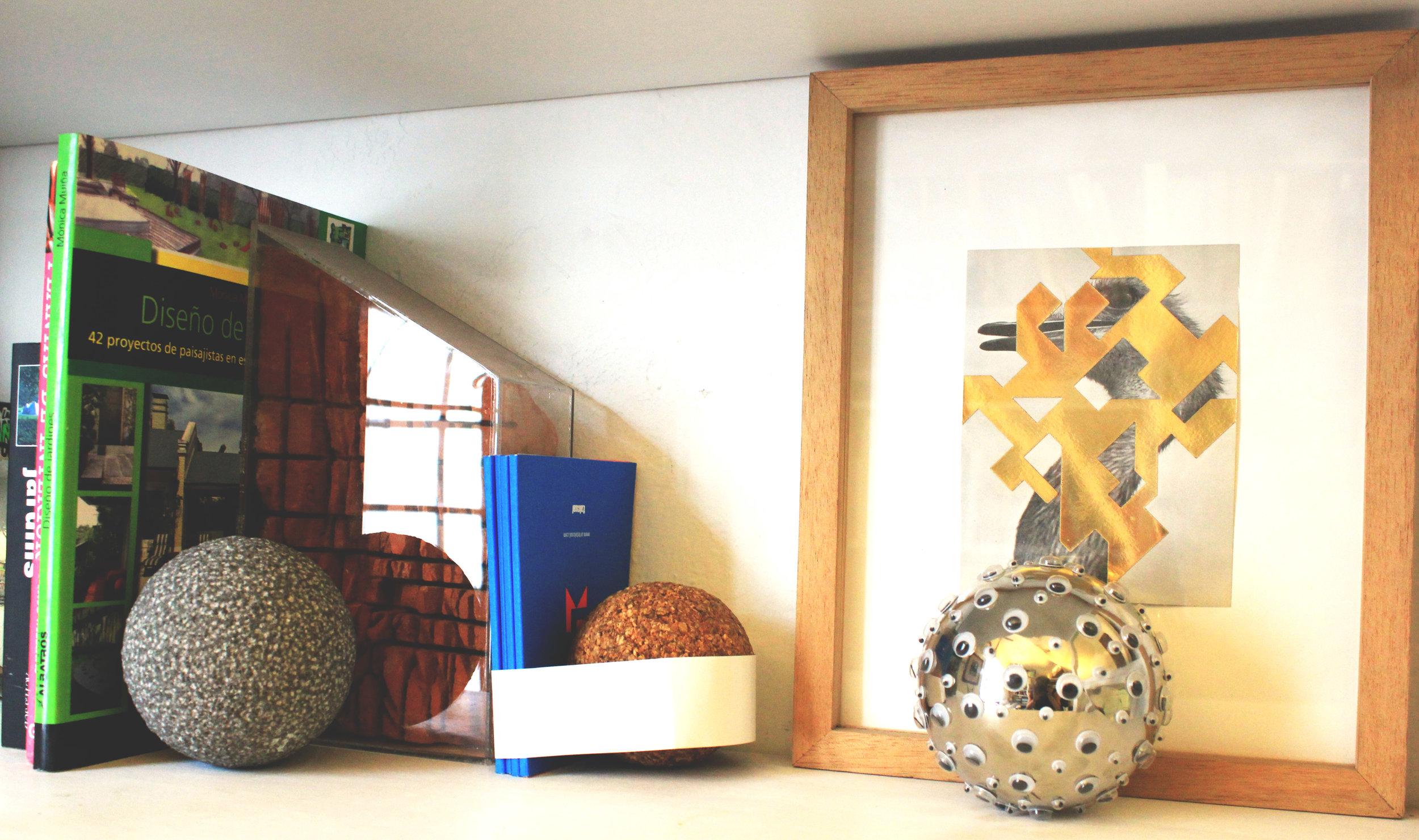 Aluminium ball and ostrich geometric collage