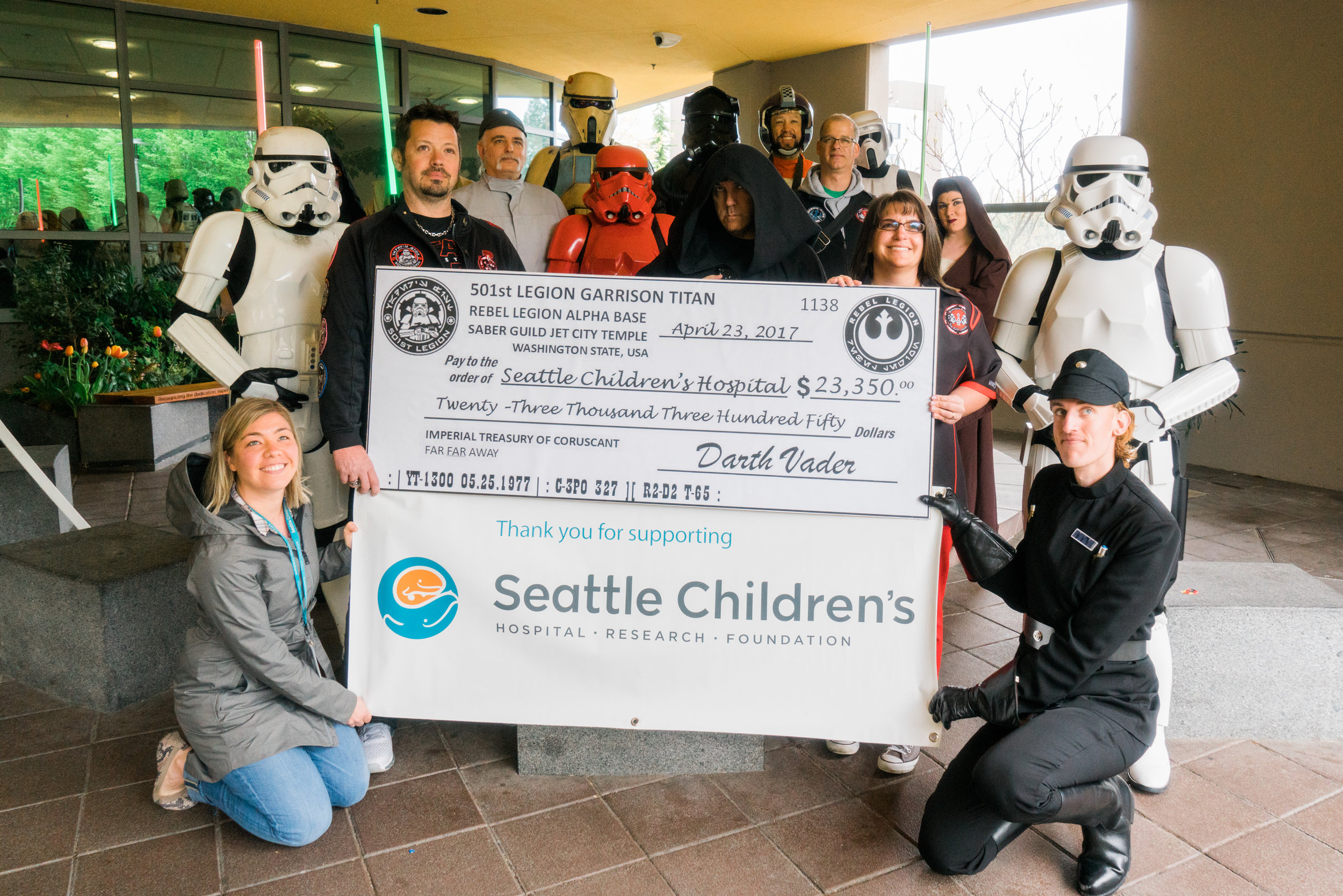 The 501st and Rebel Legion Present the Donation to Seattle Children's Hospital