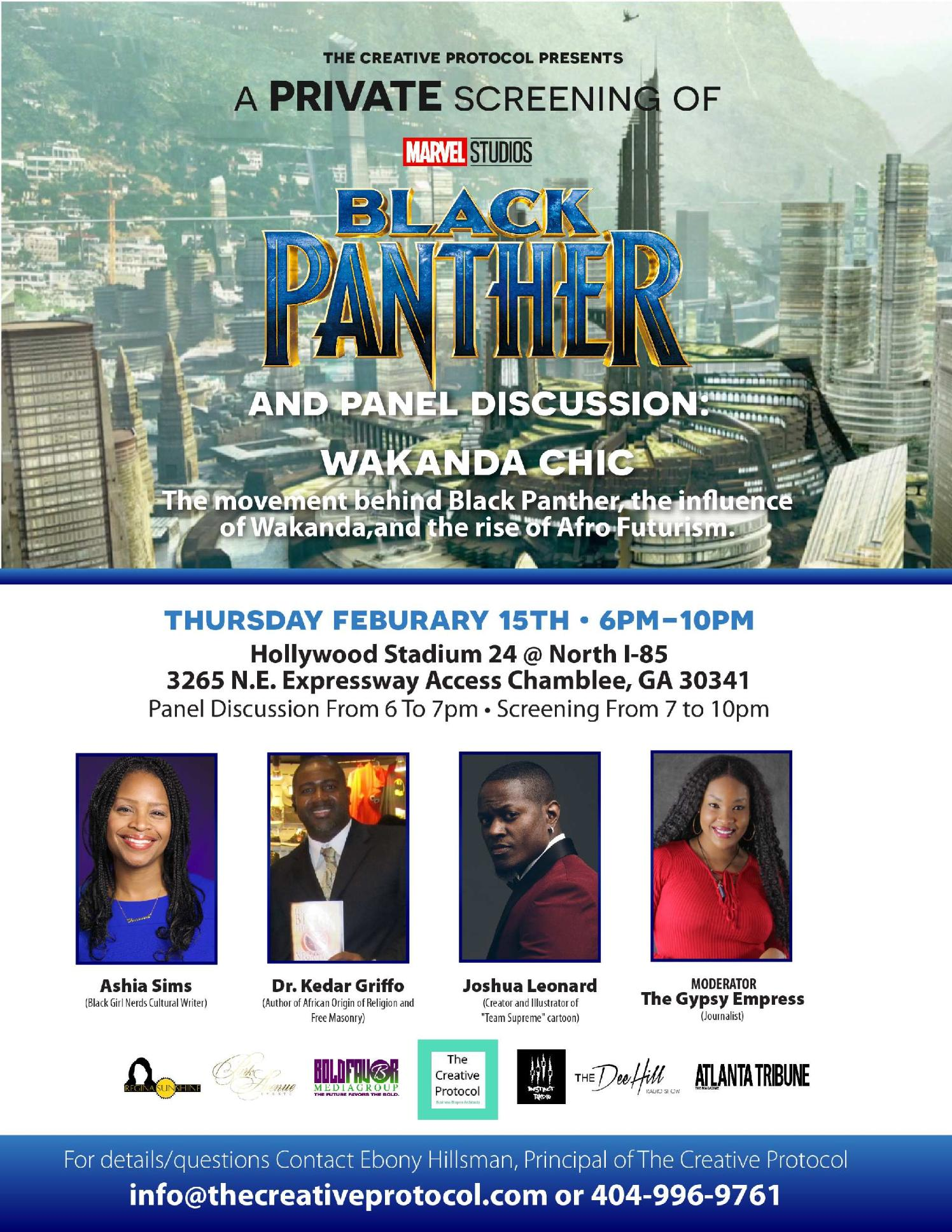 Black Panther Panel Discussion & Private Screening - Panelist for Marvel's Black Panther Film, 2018.