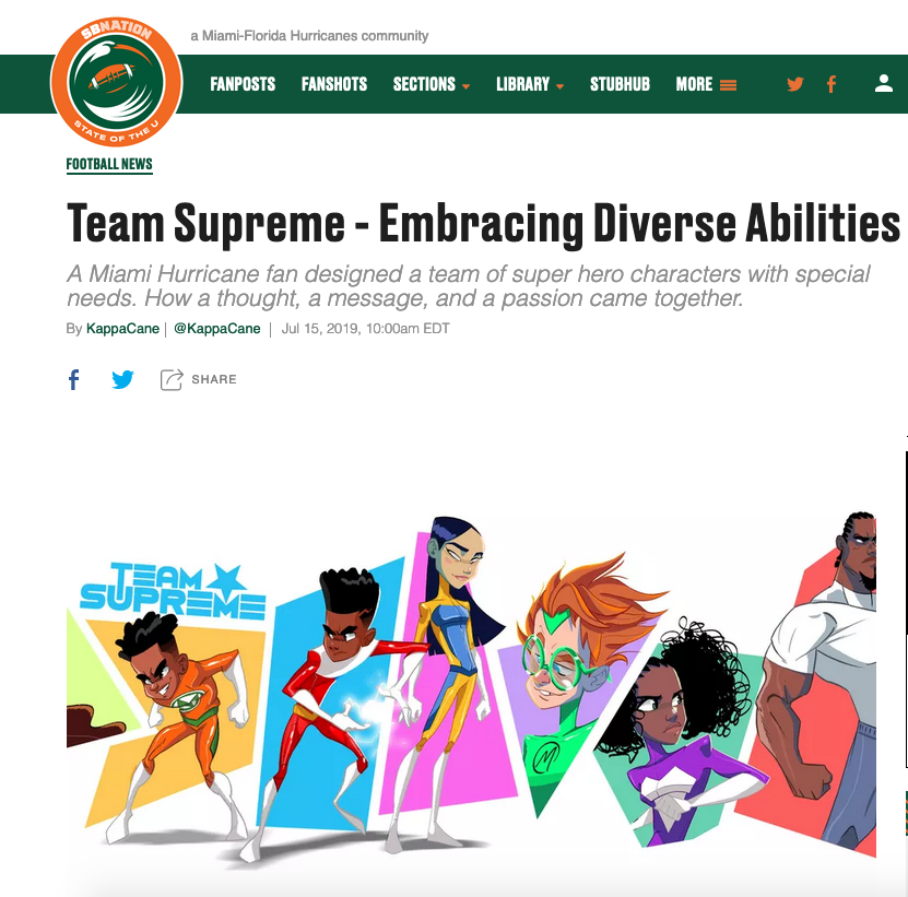 State Of The U - https://www.stateoftheu.com/2019/7/15/20689909/miami-hurricanes-football-team-supreme-embracing-diverse-abilities-special-needs-autism-awareness