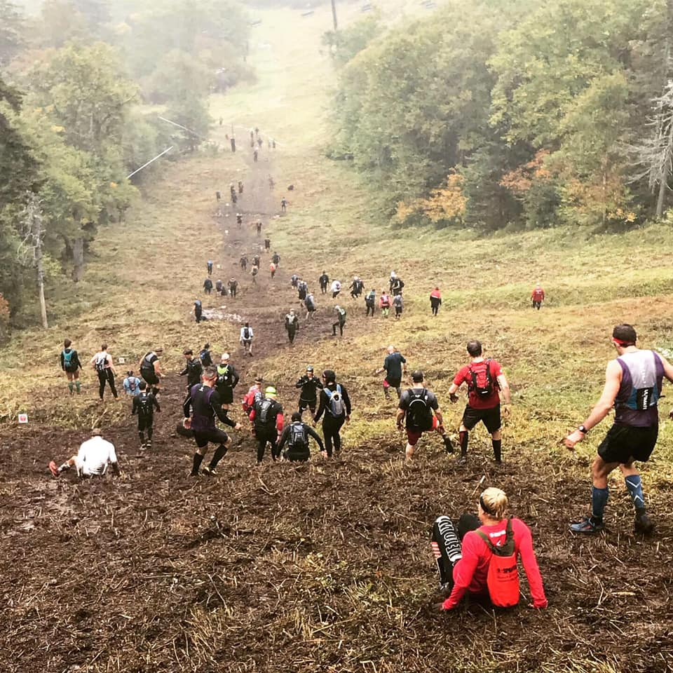 Going down a slope at Killington. Many of the downhills were worse than most of the uphill climbs. (Image Credit: Spartan Race - 2018 Race Images)