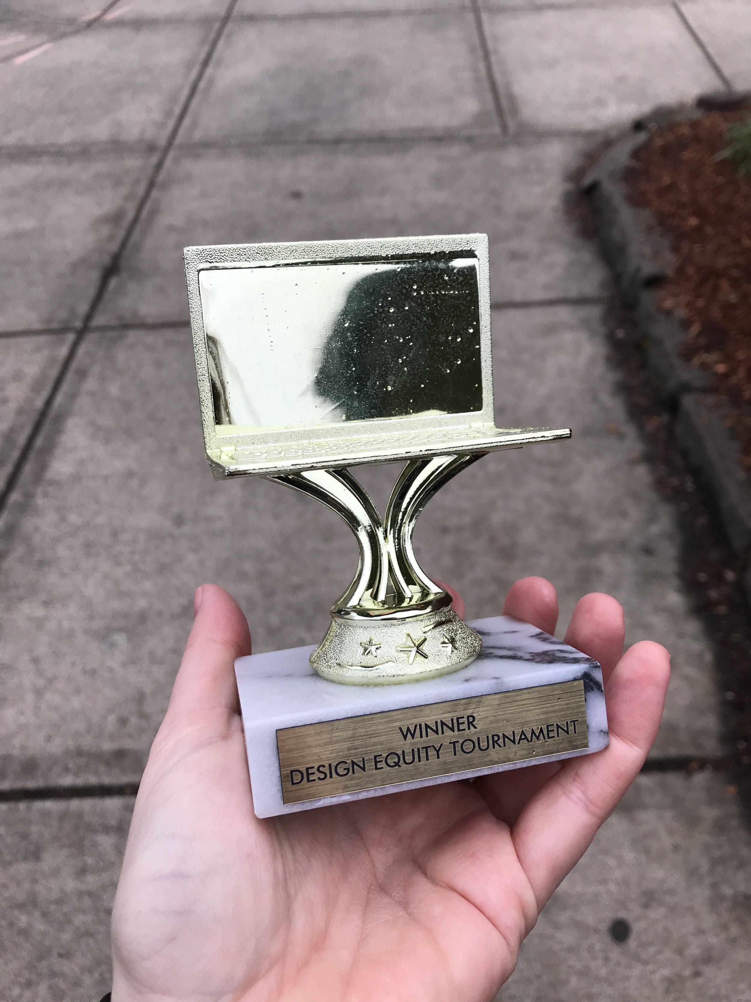 Definitely the best trophy I've gotten as an adult. Also, the only trophy I've gotten as an adult.